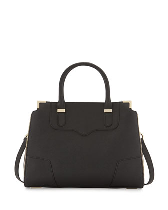 Amourous Saffiano Satchel Bag, Black