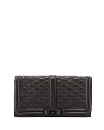 Love Quilted Turn-Lock Clutch Bag, Black