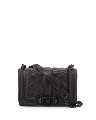 Mini Love Quilted Crossbody Bag, Black