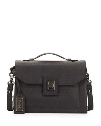 Jean Leather Satchel Bag, Black
