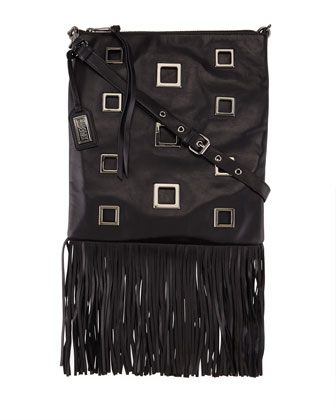 Lisa Napa Leather Fringe Tote Bag, Black