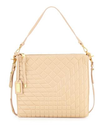 Clarissa Leather Shoulder Bag, Latte