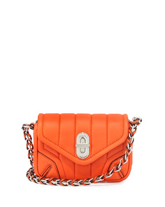 Daria Quilted Mini Crossbody Bag, Spicy Orange