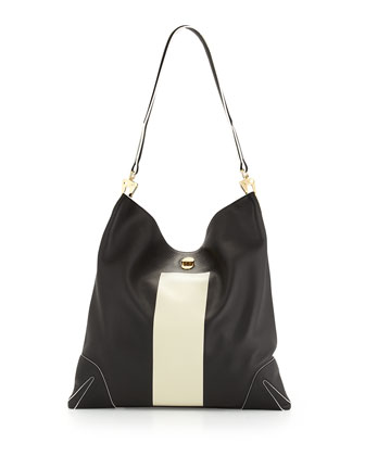 Sullivan Paint-Stripe Hobo Bag, Black