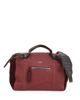 Aston Leather & Suede Satchel Bag, Bordeaux Multi