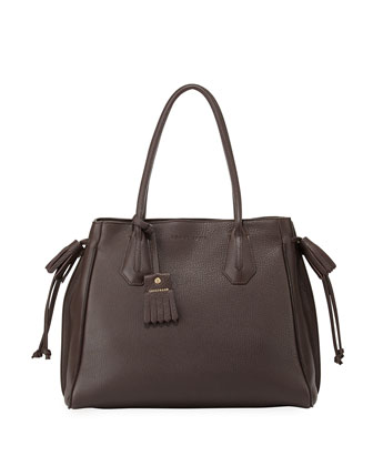 Penelope Leather Shoulder Bag, Ebony