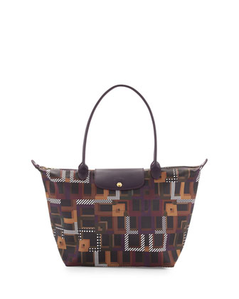 Le Pliage Art Walk Large Shoulder Tote Bag, Black Currant