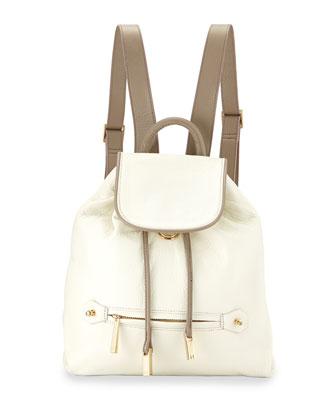 Leather Drawstring Backpack, Bone/Ash`t