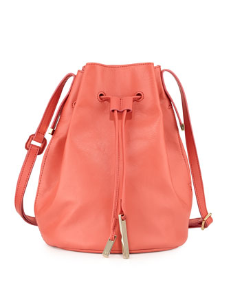 Drawstring Leather Bucket Bag, Melon