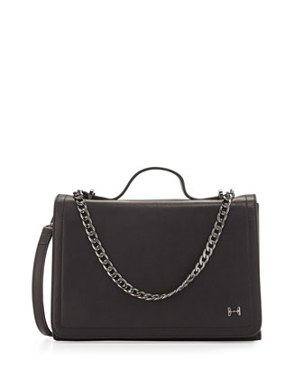Leather Shoulder Bag with Chain Detail, Black