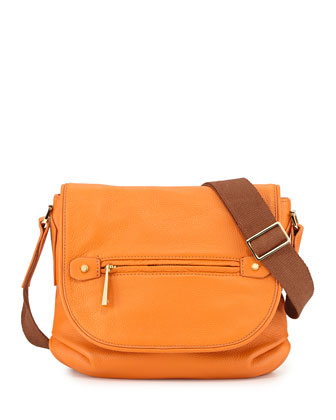 Two-Tone Leather Shoulder Bag, Tangerine