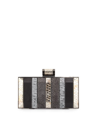 Embossed Minaudiere Evening Clutch Bag, Black Multi