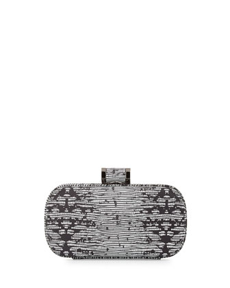Oblong Patterned Minaudiere Evening Clutch Bag, Black/White