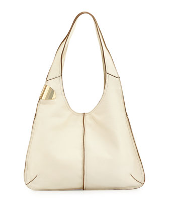 Two-Tone Leather Hobo Bag, Chalk