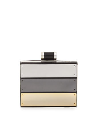 Square Colorblock Minaudiere Evening Clutch Bag, Black Multi