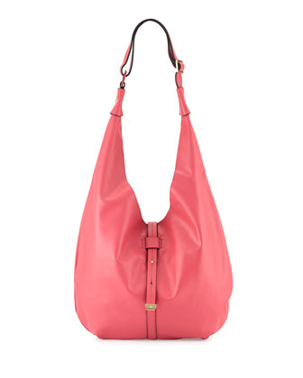 Front-Closure Leather Hobo Bag, Fuchsia