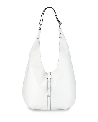 Front-Closure Leather Hobo Bag, White
