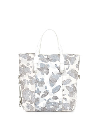 Printed Leather Tote Bag, White Multi