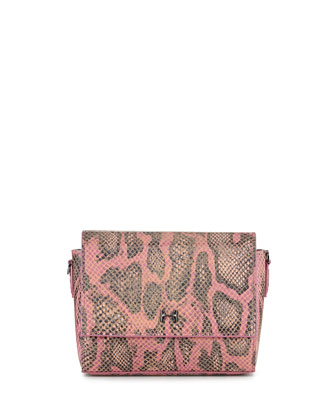 Snake-Print Leather Wallet Clutch Bag, Fuchsia Multi