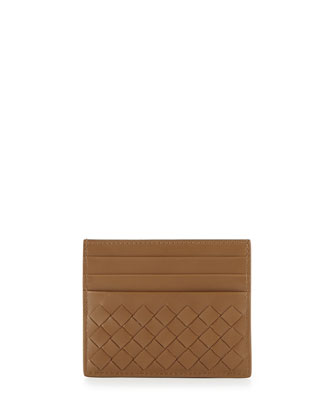 Woven Leather Credit Card Sleeve, Camel