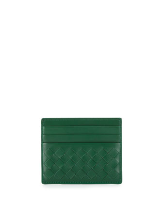 Woven Leather Credit Card Sleeve, Kelly