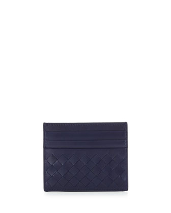 Woven Leather Credit Card Sleeve, Atlantic