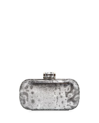 Snake-Embossed Minaudiere Evening Clutch Bag, Silver