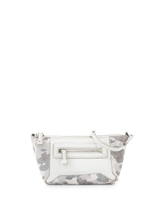 Printed-Leather Evening Clutch Bag, White Multi