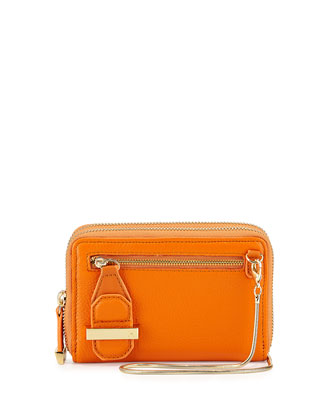 Wallet-On-Chain Clutch Bag, Tangerine