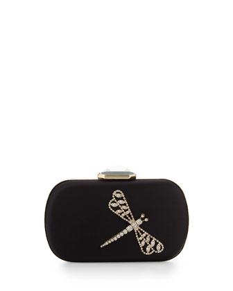 Emily Rhinestone-Embellished Evening Clutch Bag, Black