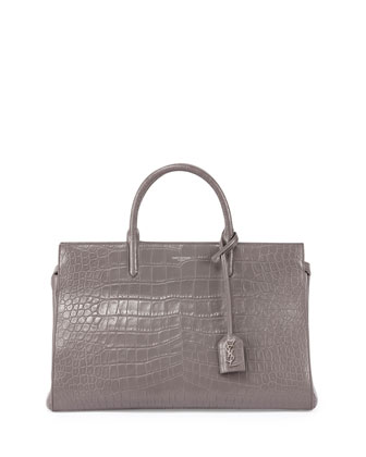 Cabas Rive gauche Croc-Stamped Tote Bag, Gray