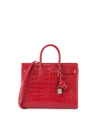 Sac de Jour Crocodile-Stamped Satchel Bag, Red