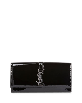 Monogram Patent Punk Chain Clutch Bag, Black