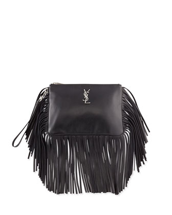 Monogram Fringe Leather Clutch Bag, Black