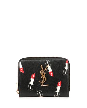Monogram Small Lipstick-Print Wallet, Black/Red/White