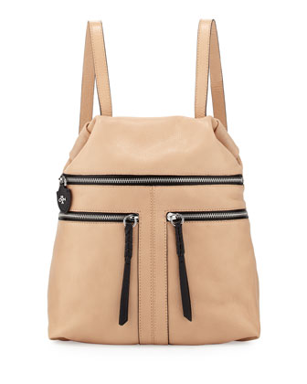 Chloe Leather Backpack, Almond