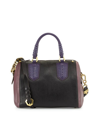 Reese Colorblock Satchel Bag, Black