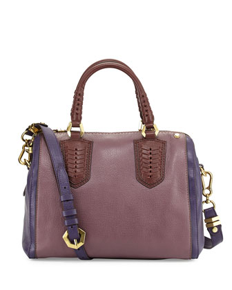 Reese Colorblock Satchel Bag, Plum