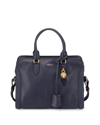 Small Skull Padlock Leather Satchel Bag, Navy