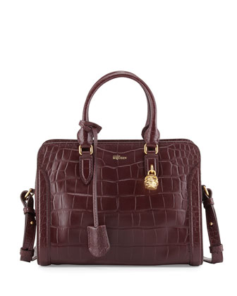 Crocodile-Embossed Small Padlock Satchel Bag, Bordeaux