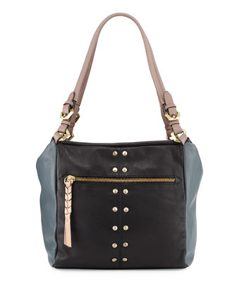 Madison Colorblock Leather Shoulder Bag, Black/Multi