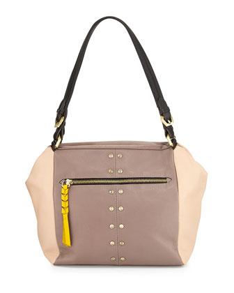Madison Colorblock Leather Shoulder Bag, Mushroom/Multi