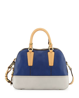 Leslie Colorblock Satchel Bag, Indigo Multi