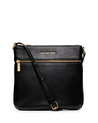 Bedford Flat Leather Zip Crossbody Bag, Black