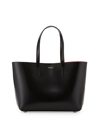 East-West Medium Tote Bag, Black/Red