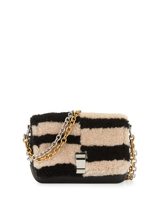 Courier-Blurred XS Shearling Fur Shoulder Bag, Black/Nude