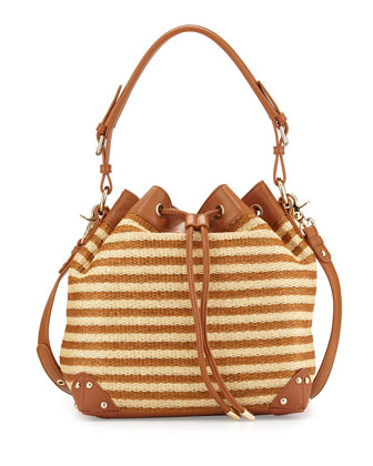 Clio Leather-Trimmed Bucket Bag, Latte/Cognac