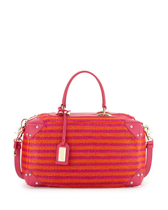 Clio Leather-Trimmed Satchel Bag, Fuchsia