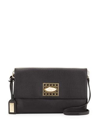 Precious Soft Pebbled Leather Clutch Bag, Black