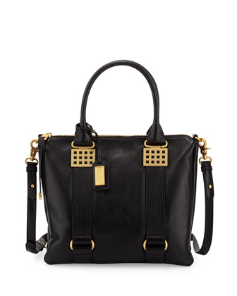 Ally Leather Tote Bag, Black